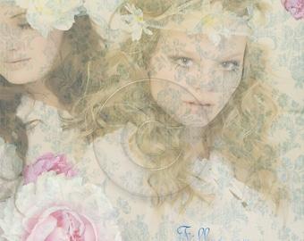 Filles en Fleurs Female Floral Damask Digital Collage Art Print Digital Download French