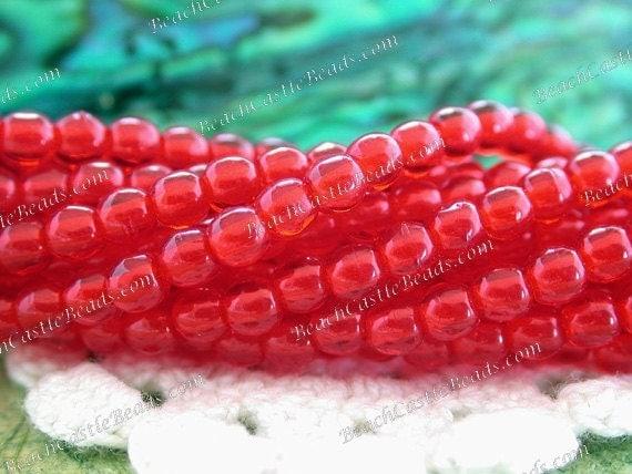 2 Strands, 200 ~ 3mm Round Glass Beads, Light Siam Ruby Czech Druks, 3mm Druk Beads, Glass Spacers, Red Druks  CZ-024