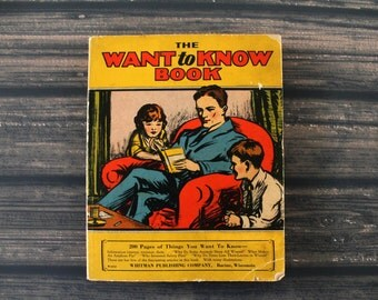 vintage The Want to Know Book--1929 Whitman Publishing Company, antique books, reference book, children's book