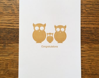 Owls Baby Congratulations card