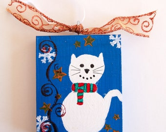 Painted White Cat Wood Ornament, Handmade Christmas Tree Decoration, Cat Ornament, Holiday Ornament, Primitive Art, Ornament for Cat Lovers