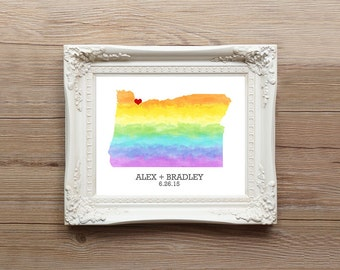 Oregon or ANY STATE Rainbow Map - Custom Personalized Heart Print - Gay LGBT Wedding Gift - Hometown Wall Art - Watercolor Series