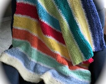 "Crocheted Blanket 34"" x 40"" ~ Bright Rainbow Colors ~ Neutral Colors ~ Handmade  Blanket ~ Nursery Blanket - Baby Gift ~ Pipsqueak Boy~ Girl"