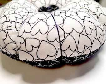 Black and White Pincushion, Heart Pincushion, Decorative Pins, Sewing Supplies