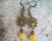 Brass Lotus Charms and Butter Jade Earrings