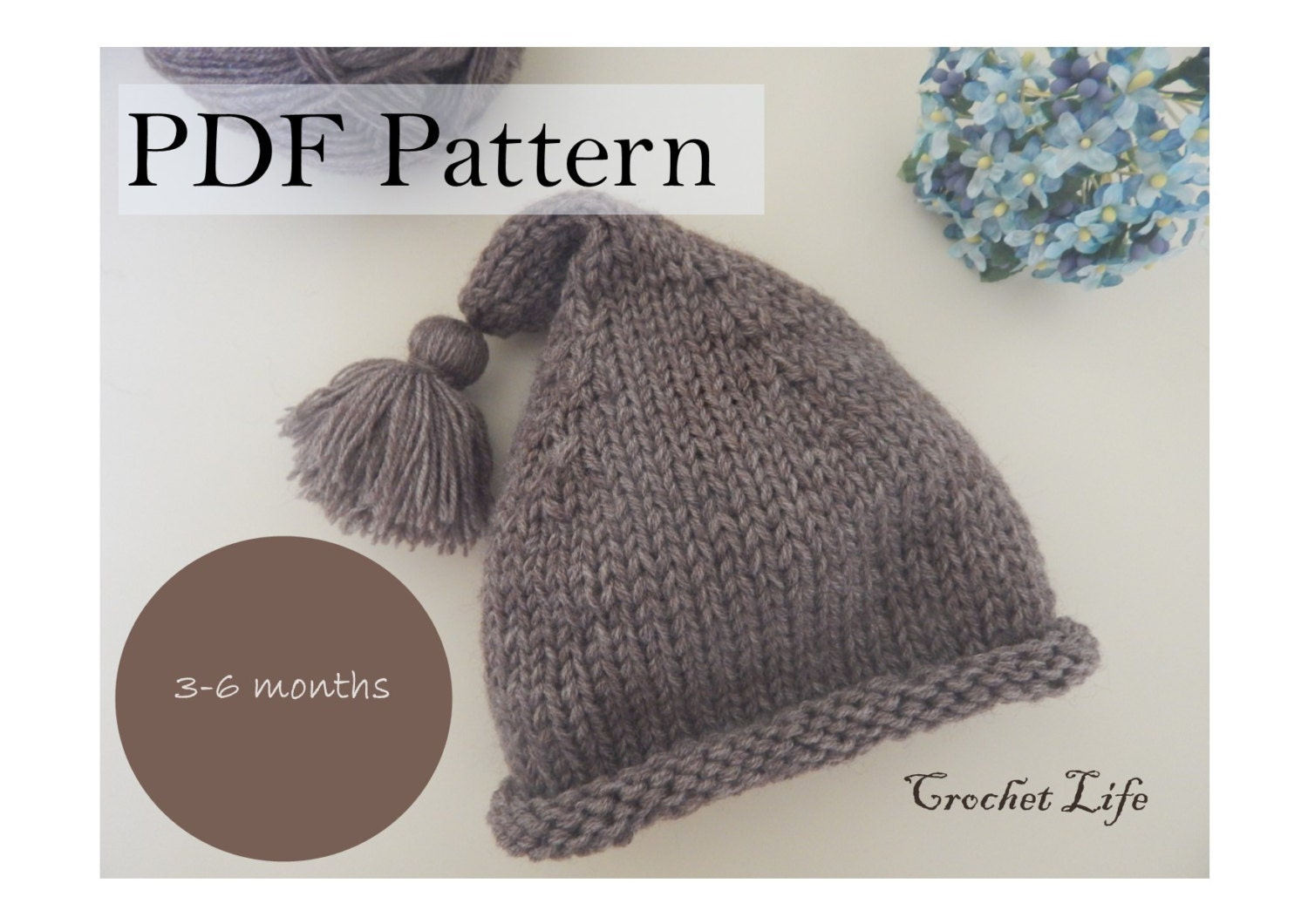 Baby stocking hat, PDF Pattern, Knitting pattern, Knit baby hat, Newborn Phot...