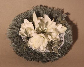 Hair Clip...white flowers on green fringe, wedding gift
