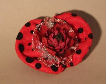 Hair Clip...Black polka dots, red fabric and flower
