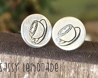 Dainty Coffee Earrings / Love my Cup of Joe Coffee Hand Stamp Surgical Steel Post Earrings / Gilmore Girls