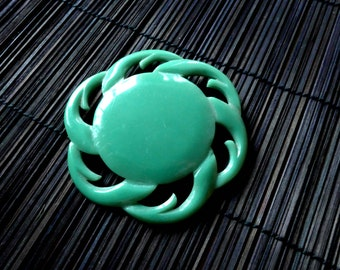 Gorgeous 1940's Brooch, Huge Green Galalith Button turned into a beautiful Brooch