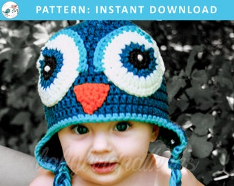 What a HOOT! Crochet owl hat pattern for babies and toddlers - PDF Download Pattern