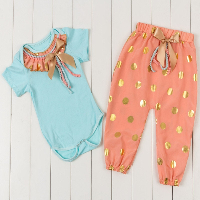 Aqua Peach Amp Gold Baby Girl First Easter Birthday Outfit