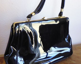 Black patent leather purse 1960s