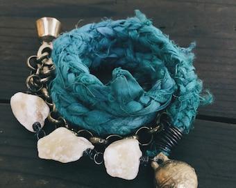Braided silk, raw crystal and chain wrap bracelet necklace - turquoise bracelet, sari silk, raw crystal bracelet, raw crystal necklace