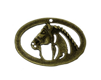 25 Horse Pendants - Antique Bronze  - 19x13mm - Ships IMMEDIATELY from California - BC787