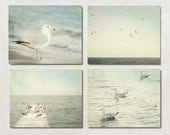 Grey Photography Set of Four Prints, Seagull Wall Art Collection, Modern Lake House Decoration, Ocean Photograph Set, 4 Coastal Picture Set