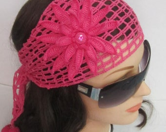 Crochet Fuchsia Flower Lace Headband Boho Headband Women Headband Summer Head band for women Pink Summer Headband Hair Accessories for women