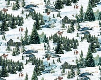 REMNANT PIECE - Wilmington - Winter Stillness Flannel - Scenic Multi