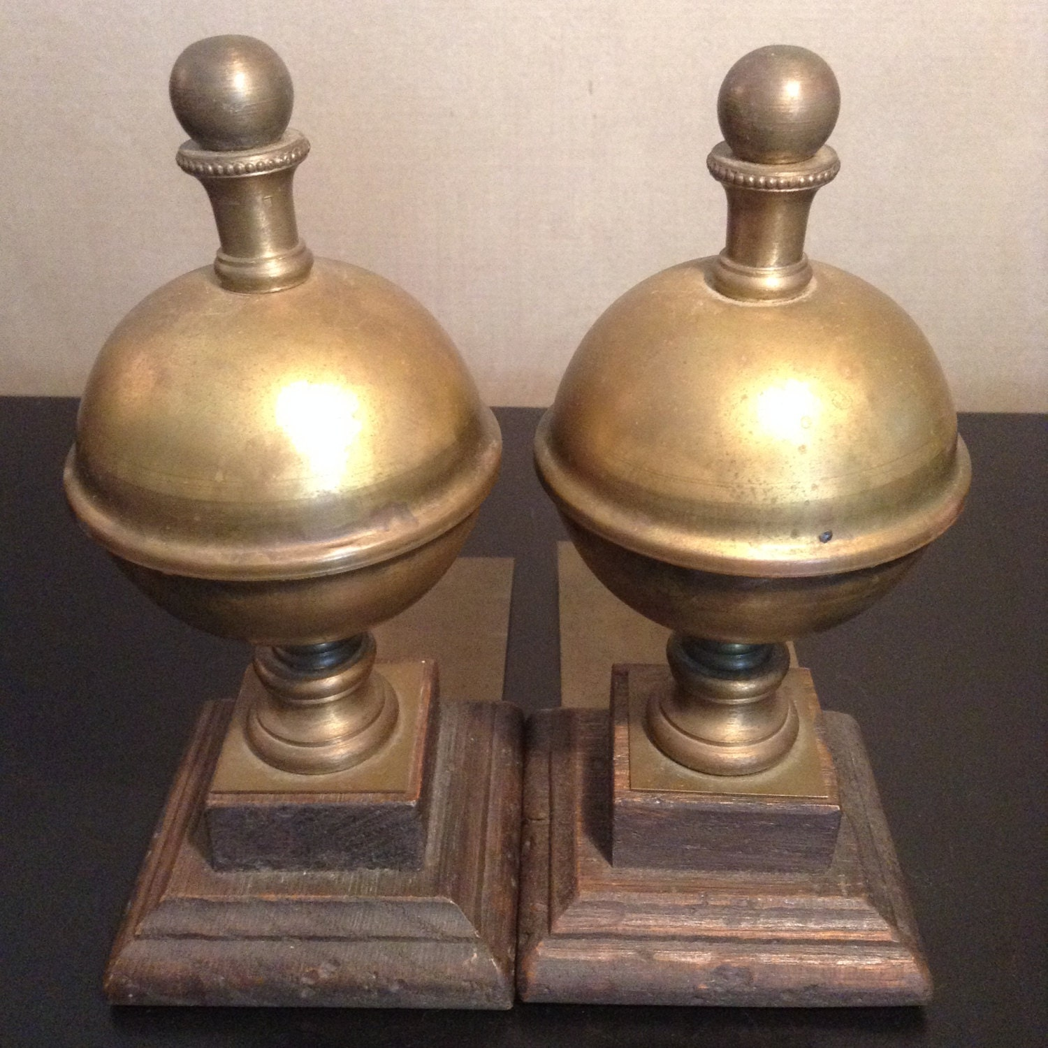 Vintage brass finial bookends brass finial on wood base - Antique brass bookends ...