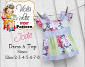 Jodie... Girl's Sewing Pattern. Girl's Dress Pattern. Girl's Summer Top Pattern, Toddler Dress Sewing Pattern, Girl's pdf Sewing Pattern.