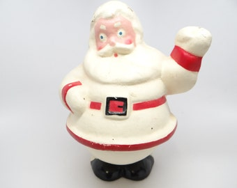 1940's White 9 Inch Santa Candy Container, Paper Mache, Hand Painted for Christmas