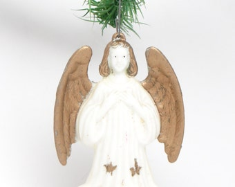 1950's Vintage Angel Chirstmas Ornament, Hand Painted Plastic