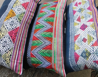 Lumbar Pillow In Vintage Laos Embroidery, Boho Cushion Cover, Colorful Rectangular Pillow Free Worldwide Shipping