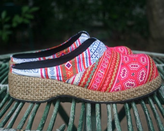 Womens Clogs, Ethnic Hmong Embroidered Vegan Shoes Bohemian Style
