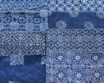 Fabric Hmong Natural Indigo Batik Custom Hand Stamped Cotton Eco Friendly 8 Patterns