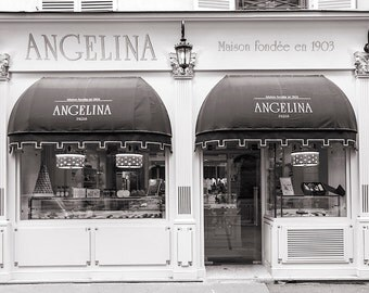 Paris Photography, Angelina Patisserie, Black and White Photo, French Pastry Shop,  Fine Art Travel Photograph, Paris Decor, Large Wall Art