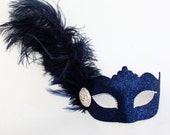 Beautiful Red, Navy, Silver, Gold Sparkly Feather Masquerade Mask