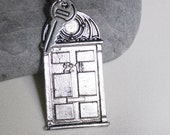 Sherlock's Front Door & Key! 221B front door charm and a tiny key on a silver plated necklace - Sherlock Holmes - John Watson -