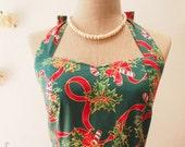 Women Christmas Dress / Christmas Dress / Chriatmas Party Dress / Green Christmas Dress / Retro Dress