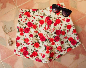 "Floral High Waist Short - Red Rose - Summer Shorts - Free Size Waist 26""-28"", Hip 35""-37"""