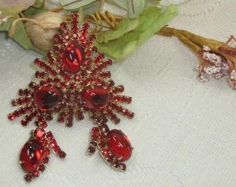 Juliana like red rhinestone and glass brooch and earrings triangle brooch