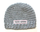 Ready to ship light grey crochet baby hat.  Totes adorb.  Newborn photography prop, baby shower gift, unisex baby hat
