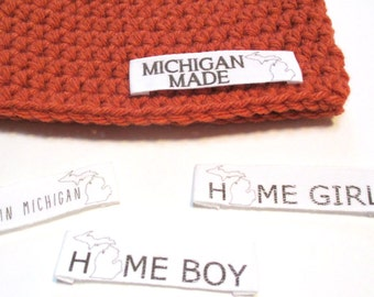 Made in Michigan crochet baby hat.  Personalized for State of Michigan baby photography prop, pregnancy reveal, gender reveal. Michigan made