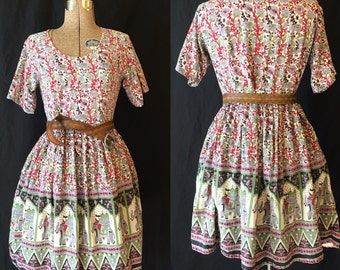 Vintage 60's Elephant Print Cotton Indian Dress with Pockets Medium D440
