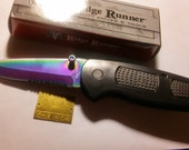 BBF(Before Black Friday) Zombie Apocalypse Survival Knife, Ridge Runner, Assist Open, Rainbow Finish Blade, Very Sharp, Not A Toy, 7in Open,