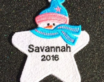 Personalized Snowman Ornament or Gift Tag 1