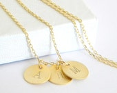 Gold Initial Necklace - Choose Up to 5 Disc Pendants