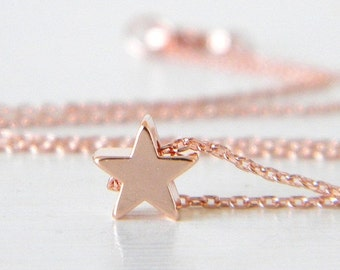 Rose Gold Star Charm Necklace, Dainty Star Necklace, Tiny Rose Gold Star Jewelry, Delicate Rose Gold Star Necklace