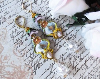 Painted Brass Earrings with Fancy Floral Bead Cap and Crystal Briolette