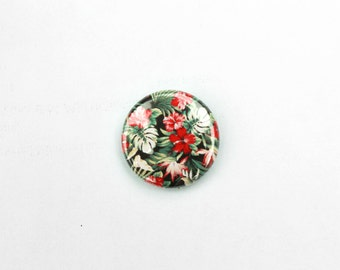 Floral Hawaiian 1 inch Pin back button