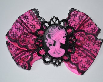 Black and Pink Lace Hair Bow with Skull Cameo Day of the Dead