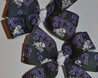 Set of Two TCU Hair Bows Horned Frogs Texas Christian University