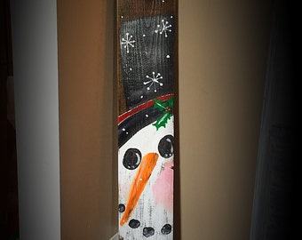Hand painted snowman on reclaimed wood