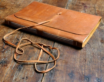Extra large leather journal- vintage brown pull up measures 31cm by 21.5cm