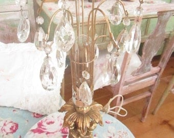 Vintage table chandelier angels crystals shabby chic prairie cottage chic