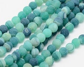 15 Pcs - Matte Finish Agate Gemstone Beads in Shades of Sea Green - 6mm
